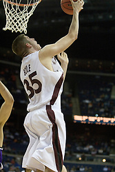 Southern Illinois Salukis forward Tony Boyle (35) finishes a reverse lay up against Holy Cross.  The #4 seed Southern Illinois Salukis defeated the #13 seed Holy Cross Crusaders 61-51  in the first round of the Men's NCAA Tournament in Columbus, OH on March 16, 2007.