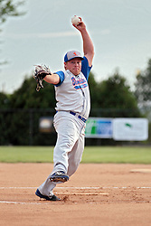 27 June 2014:  BJ Hunhoff during a Mens Professional Fastpitch Softball game between the Central Illinois Knights from Villa Grove and the Bloomington Stix from Bloomington, played at O'Neil Park in Bloomington, Illinois