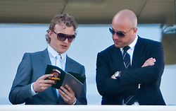 LIVERPOOL, ENGLAND - Friday, April 8, 2011: Liverpool's Dirk Kuyt and goalkeeper Pepe Reina enjoy Ladies Day, Day 2 of the 2011 Grand National meeting at Aintree Racecourse. (Photo by David Tickle/Propaganda)