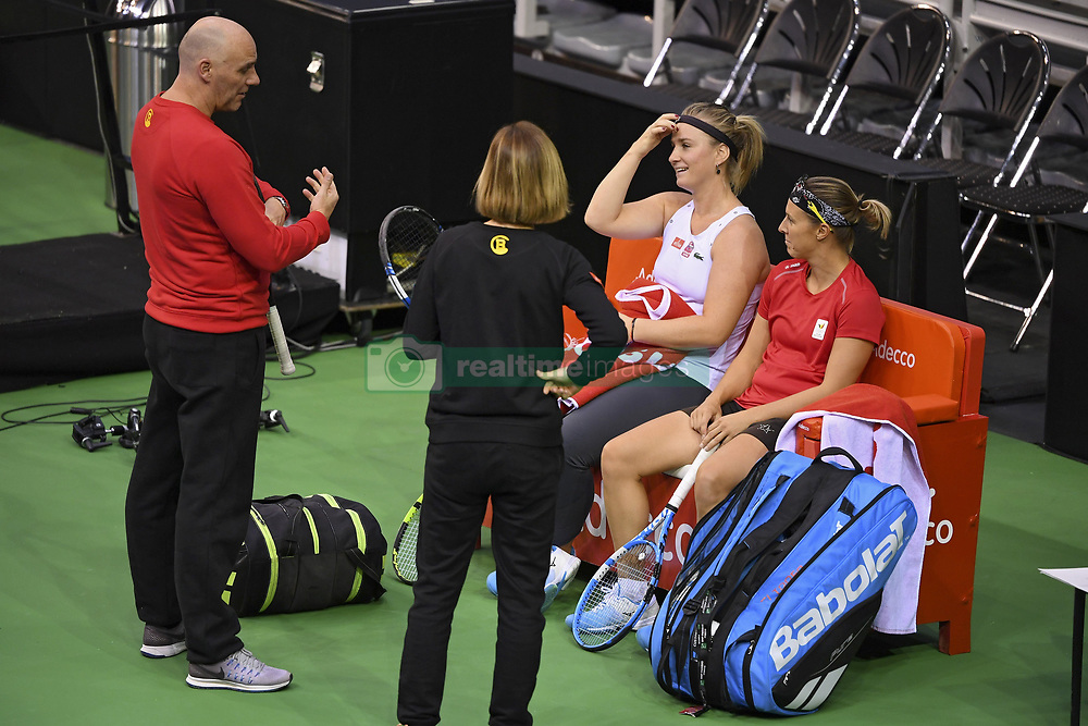 February 8, 2019 - Liege, France - Johan VAN HERCK captain of Belgium, Ysaline BONAVENTURE, Kirsten FLIPKENS (Credit Image: © Panoramic via ZUMA Press)