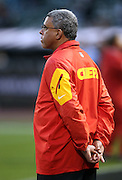 Kansas City Chiefs assistant head coach / wide receivers coach David Culley watches pregame warmups before the NFL week 12 regular season football game against the Oakland Raiders on Thursday, Nov. 20, 2014 in Oakland, Calif. The Raiders won their first game of the season 24-20. ©Paul Anthony Spinelli