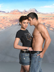 sexy girl with a shirtless man