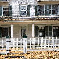 Detail of the facade of Ambler Farm, Wilton, Connecticut, USA