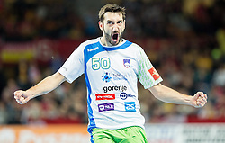 Dragan Gajic of Slovenia reacts during handball match between National teams of Slovenia and Spain on Day 4 in Preliminary Round of Men's EHF EURO 2016, on January 18, 2016 in Centennial Hall, Wroclaw, Poland. Photo by Vid Ponikvar / Sportida