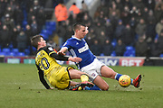 Ipswich Town defender Jonas Knudsen (3) clears from Burton Albion midfielder Martin Samuelsen (20) during the EFL Sky Bet Championship match between Ipswich Town and Burton Albion at Portman Road, Ipswich, England on 10 February 2018. Picture by Richard Holmes.
