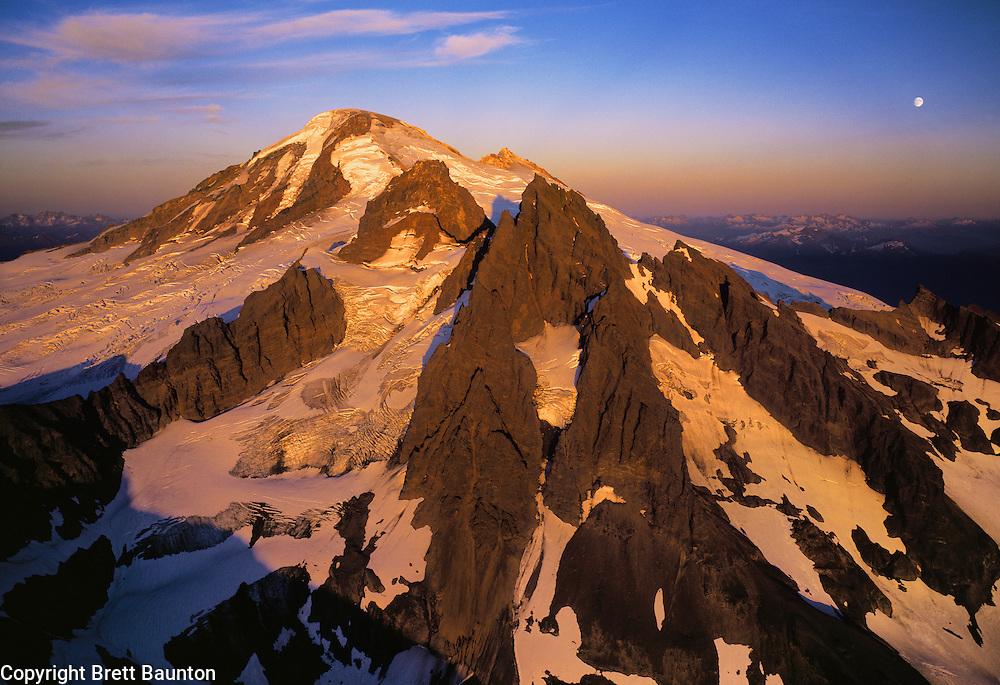 Mt. Baker Aerial, Sunset, Full Moonrise, 6x9H, Black Buttes