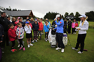 Leona Maguire (IRL) and Stephanie Meadow (NIR) at the Golf4Girls4Life festival at the ISPS Handa World Invitational, Galgorm Castle Golf Club, Ballymena, Antrim, Northern Ireland. 14/08/2019.<br /> Picture Fran Caffrey / Golffile.ie<br /> <br /> All photo usage must carry mandatory copyright credit (© Golffile | Fran Caffrey)