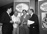 "Ford Siamsa Cois Laoi..1985..17.06.1985..06.17.1985..17th June 1985..At a press luncheon in Dublin, the names of the forthcoming artists for the Siamsa Cois Laoi music festival were announced. The artists include, Kris Kristofferson,Louden Wainwright III,.Stocktons Wing and The Wolfe Tones..The Ford sponsored festival takes place in Parc Ui Chaoimh,Cork City,on the 28th of July.This is the second year of a three year sponsorship deal.It is hoped that after the success of last years'event that this year will be bigger and better than ever..Mr Kieven,Chairman and M.D. of Ford Ireland stated ""The 1984 Ford Siamsa was Ford's first association with Ireland's Premier Folk Music Festival..Ford were very pleased with the outstanding success that was achieved and that the friendly co-operation of everyone involved helped to ensure a memorable day""..Image of happy sponsor and committee members as they pose in front of the Siamsa Cois Laoi Poster"