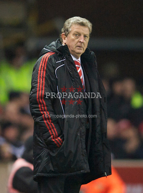 STOKE, ENGLAND - Saturday, November 13, 2010: Liverpool's manager Roy Hodgson during the Premiership match against Stoke City at the Britannia Stadium. (Photo by David Rawcliffe/Propaganda)