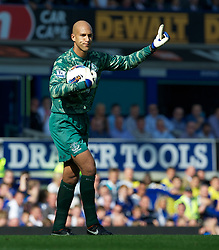 LIVERPOOL, ENGLAND - Saturday, October 1, 2011: Everton's goalkeeper Tim Howard in action against Liverpool during the Premiership match at Goodison Park. (Pic by David Rawcliffe/Propaganda)