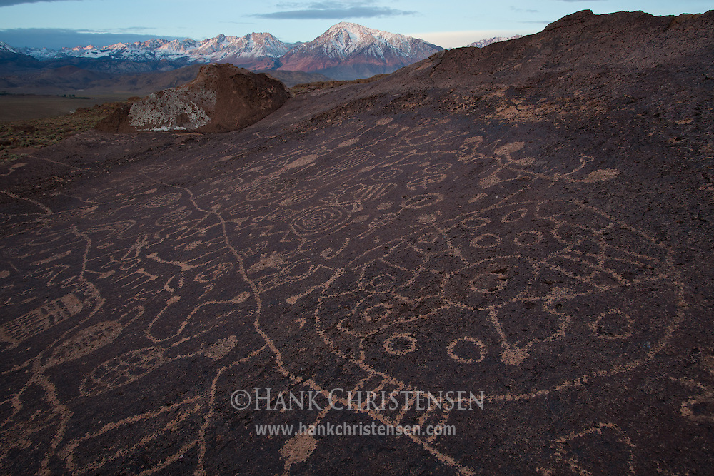 Created long ago by Native Americans, the Sky Rock Petroglyph's location is kept secret.  It is only shared through word of mouth so that it can be kept safe. It is thought that it was probably created by the ancestors of what are today known as the Owens Valley Paiute, possibly as long as 8,000 years ago.