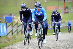 March 30, 2018 - Oudenaarde, Belgique - OUDENAARDE, BELGIUM - MARCH 30 : BARBERO Carlos (ESP)  of Movistar Team on the Paterberg climb during a training session prior to the Flanders Classics UCI WorldTour 102nd Ronde van Vlaanderen cycling race with start in Antwerpen and finish in Oudenaarde on March 30, 2018 in Oudenaarde, Belgium, 30/03/2018 (Credit Image: © Panoramic via ZUMA Press)