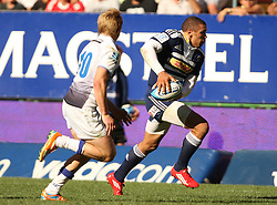 Brian Habana of the Stormers attacking with James O'Conner of the Force in defense during the Super Rugby (Super 15) fixture between DHL Stormers and the The Force played at DHL Newlands in Cape Town, South Africa on 26 March 2011. Photo by Jacques Rossouw/SPORTZPICS