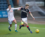Dundee&rsquo;s Kevin Holt goes past Ross County&rsquo;s Tim Chow - Dundee v Ross County in the Ladbrokes Scottish Premiership at Dens Park, Dundee. Photo: David Young<br /> <br />  - &copy; David Young - www.davidyoungphoto.co.uk - email: davidyoungphoto@gmail.com