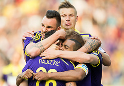 Players of Maribor celebrate after scoring fourth goal for Maribor during football match between NK Maribor and NK Olimpija Ljubljana in 30th Round of Prva liga Telekom Slovenije 2014/15, on April 29, 2015 in Stadium Ljudski vrt, Maribor, Slovenia. Photo by Vid Ponikvar / Sportida