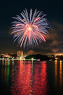 Highland, N.Y. - Fireworks light up the sky over the Hudson River on July 8, 2006. ©Tom Bushey
