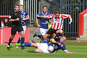 Jack Munns and David Mellor during the Vanarama National League match between Cheltenham Town and Barrow at Whaddon Road, Cheltenham, England on 22 August 2015. Photo by Antony Thompson.