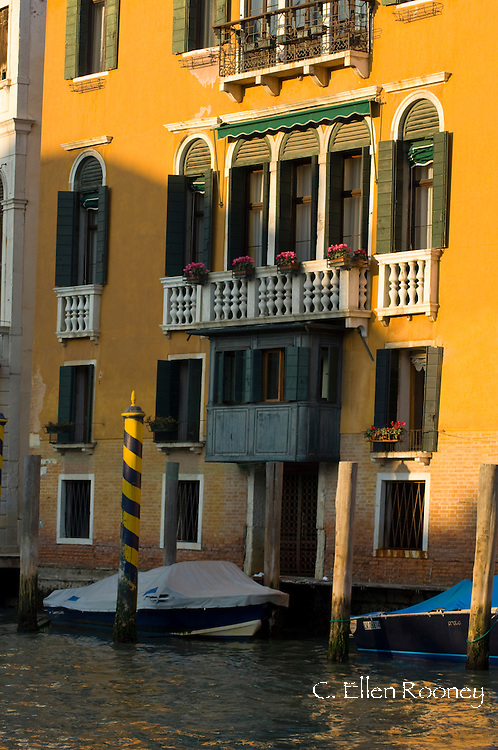A colourful palazzo on the Grand Canal;  Venice, Italy