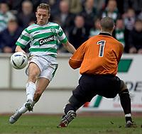 Clyde v Celtic, ScottishCup  quarter final, Broadwood Stadium, Cumbernauld. Sunday 27/02/2005<br /> Keeper Bryn Halliwell saves at close range from Craig Bellamy