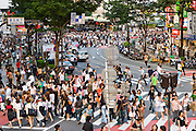 A busy street in Shibuya District, Tokyo, Japan. Shibuya district serves as the administrative and commercial center of Tokyo.