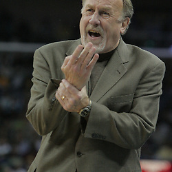 16 March 2009: Houston Rockets coach Rick Adelman reacts to a play during a NBA game between the New Orleans Hornets and the Houston Rockets at the New Orleans Arena in New Orleans, Louisiana.