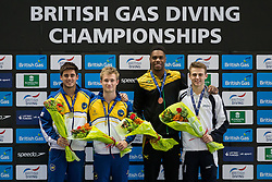 Mens 3m Springboard Final podium, (L-R) Silver Medallist  Chris Mears, Gold Medallist Jack Laugher, both of City of Leeds Dive Club and Bronze Medallist Yona Knight-Wisdom of Jamaica (Guest) and Bronze Medallist Jack Haslam of Sheffield Diving Club - Photo mandatory by-line: Rogan Thomson/JMP - 07966 386802 - 21/02/2015 - SPORT - DIVING - Plymouth Life Centre, England - Day 2 - British Gas Diving Championships 2015.