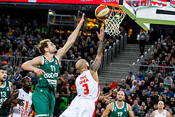 Filip Čović of KK Crvena Zvezda MTS and Jaka Blazic of KK Cedevita Olimpija during ABA basketball league round 9 match between teams KK Cedevita Olimpija and KK Crvena Zvezda MTS in Arena Stozice, 1. December, 2019, Ljubljana, Slovenia. Photo by Grega Valancic / Sportida