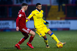 Tareiq Holmes-Dennis of Bristol Rovers takes on Jordan Clark of Accrington Stanley - Mandatory by-line: Robbie Stephenson/JMP - 12/01/2019 - FOOTBALL - Wham Stadium - Accrington, England - Accrington Stanley v Bristol Rovers - Sky Bet League One