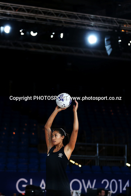 Maria Tutaia of the Silver Ferns during a Netball training session. 2014 Glasgow Commonwealth Games. Scottish Exhibition Conference Centre, Glasgow, Scotland. Wednesday 23rd July 2014. Photo: Anthony Au-Yeung / photosport.co.nz