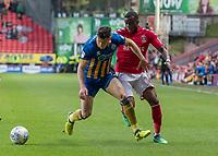 Football - 2017 / 2018 Sky Bet EFL League One - Play-Off Semi-Final, First Leg: Charlton Athletic vs. Shrewsbury Town<br /> <br /> Stephy Mavididi (Charlton Athletic FC) and Matthew Sadler (Shrewsbury Town FC) at The Valley<br /> <br /> COLORSPORT/DANIEL BEARHAM