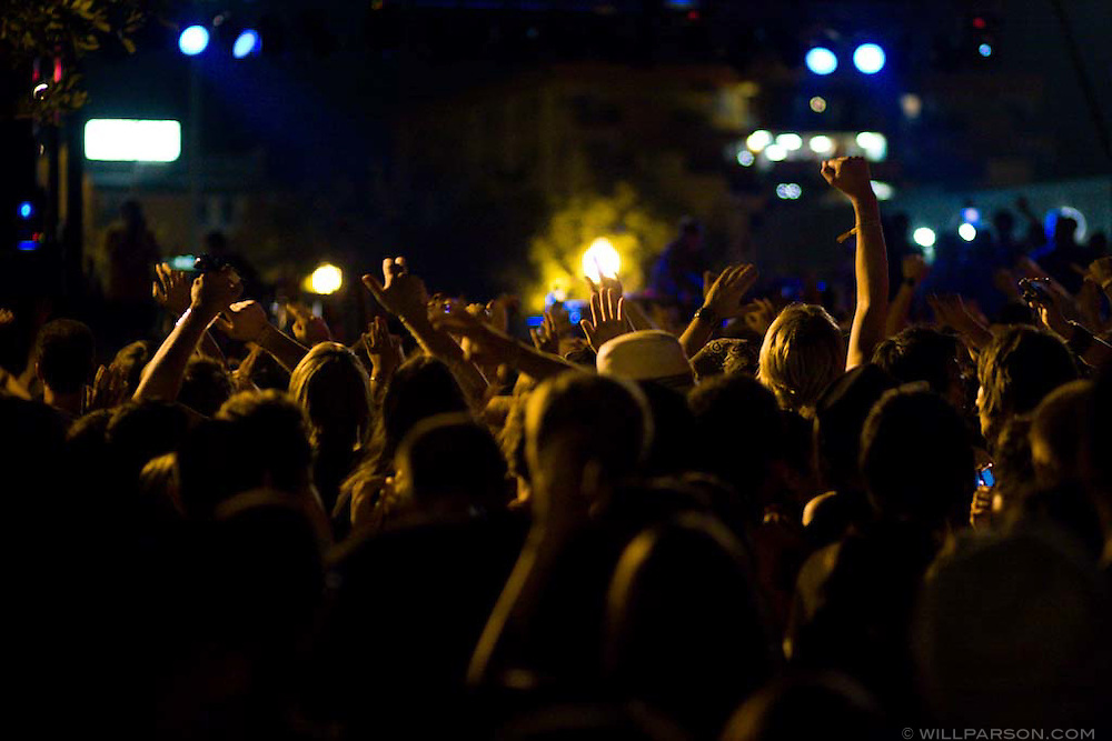 A crowd enjoys a DJ at the San Diego Street Scene Music Festival in San Diego, California on September 19, 2008.