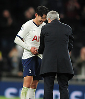 Football - 2019 / 2020 Premier League - Tottenham Hotspur vs. Burnley<br /> <br /> Spurs Manager, Jose Mourinho jokes with Heung - Min Son after the match with the match ball at the Tottenham Hotspur Stadium.<br /> <br /> COLORSPORT/ANDREW COWIE