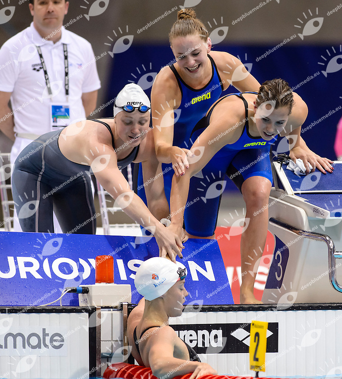 NETHERLANDS NED Bronze Medal <br /> KNEPPERS Andrea VERMEULEN Esmee NEUMANN Robin HEEMSKERK Femke<br /> 4x200 Freestyle Women Relay Final <br /> London, Queen Elizabeth II Olympic Park Pool <br /> LEN 2016 European Aquatics Elite Championships <br /> Swimming<br /> Day 11 19-05-2016<br /> Photo Andrea Staccioli/Deepbluemedia/Insidefoto