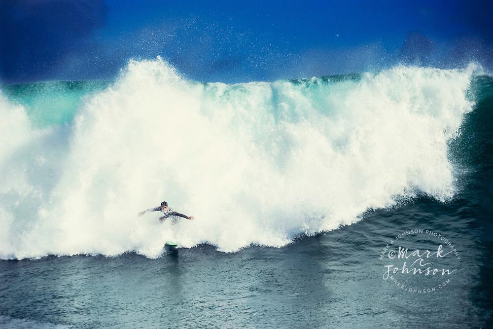 Surfer caught in whitewater, Kauai, Hawaii, USA
