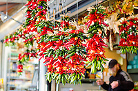 Hanging chilies in the Seattle Public Market Center