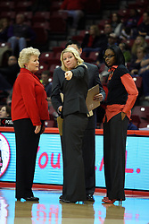 07 December 2012:  Shiela Roux points to a spot on the floor while talking with Stephanie Glance, Ryan Bragdon and Tynesha Lewis during an NCAA women's basketball game between the Northwestern Wildcats and the Illinois Sate Redbirds at Redbird Arena in Normal IL