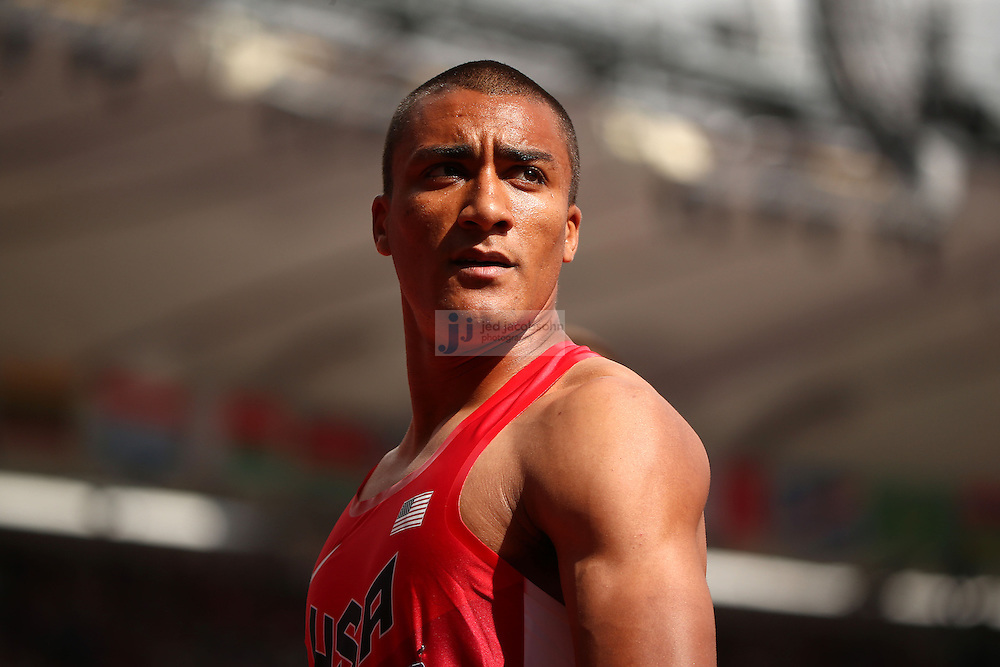 Ashton Eaton of the USA looks on after crossing the finish line after finishing the 100m portion of the decathlon during track and field at the Olympic Stadium during day 12 of the London Olympic Games in London, England, United Kingdom on August 8, 2012..(Jed Jacobsohn/for The New York Times)..