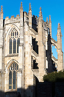 The early 13th century south transept at Saint Mary's Church, Beverley, with flying buttresses of 1853 by E. W. Pugin. Yorkshire, UK