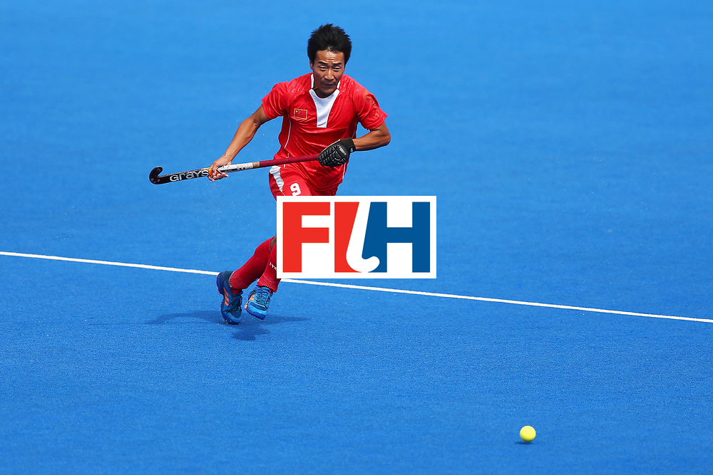 LONDON, ENGLAND - JUNE 25: Yang Ao of China in action during the 7th/8th place match between Pakistan and China on day nine of the Hero Hockey World League Semi-Final at Lee Valley Hockey and Tennis Centre on June 25, 2017 in London, England.  (Photo by Steve Bardens/Getty Images)