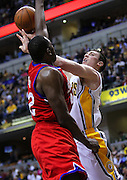 April 21, 2012; Indianapolis, IN, USA; Indiana Pacers power forward Tyler Hansbrough (50) shoots the ball against Philadelphia 76ers power forward Elton Brand (42) at Bankers Life Fieldhouse. Philadelphia defeated Indiana 109-106. Mandatory credit: Michael Hickey-US PRESSWIRE