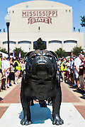 STARKVILLE, MS - SEPTEMBER 19:  Bulldog statue out the stadium before a game between the Mississippi State Bulldogs and the Northwestern State Demons at Davis Wade Stadium on September 19, 2015 in Starkville, Mississippi.  The Bulldogs defeated the Demons 62-13.  (Photo by Wesley Hitt/Getty Images) *** Local Caption ***