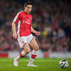 LONDON, ENGLAND - Wednesday, October 28, 2009: Arsenal's Samir Nasri in action against Liverpool during the League Cup 4th Round match at Emirates Stadium. (Photo by David Rawcliffe/Propaganda)