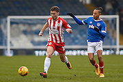 Accrington Stanley Forward, Shay McCartan (10) and Portsmouth Midfielder, Kyle Bennett (23) during the EFL Sky Bet League 2 match between Portsmouth and Accrington Stanley at Fratton Park, Portsmouth, England on 11 February 2017. Photo by Adam Rivers.