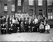 25/07/1962<br /> 07/25/1962<br /> 25 July 1962<br /> Catholic Students Games athletes at C.U.S., Lower Leeson Street, Dublin to receive briefing before travelling to the games in Brussels. Picture shows the assembled athletes with members of the Irish Catholic Students Games Organisation. members of Committee includes: Br. J. Gilmore, Assistant Manager; Fr Hensan, O.F.M. Cap.; Fr K. Connolly, C.C., Team Manager; Mr B. Hennessy, Chairman; Fr T. Lonergan S.M., President; Mr M.O. Doohan, Honorary Treasurer; Fr. Hugh Daly, O.F.M.; Fr C. Glynn, St Josephs, Ballinasloe and Mr J. O'Donovan, Basket Ball Coach.