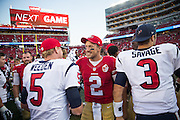 San Francisco 49ers quarterback Blaine Gabbert (2) talks with Houston Texans quarterback Brandon Weeden (5) after a preseason game at Levi's Stadium in Santa Clara, Calif., on August 14, 2016. (Stan Olszewski/Special to S.F. Examiner)