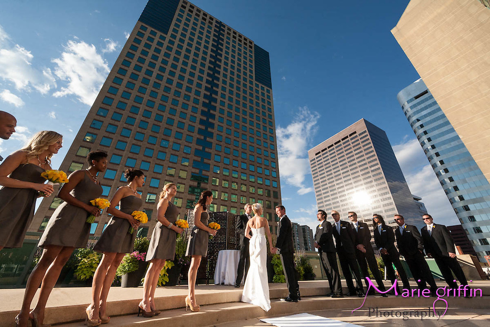 Kimberly Wolff and Sean Campbell wedding ceremony at the Westin Hotel; Pool Deck, Bridal Party at Civic Center Park, and reception at Mile High Station downtown Denver, Colorado on September 29, 2012.<br /> By: Marie Griffin Dennis and second photographer Ellen Jaskol<br /> mariefgriffin@gmail.com<br /> mariegriffinphotography.com