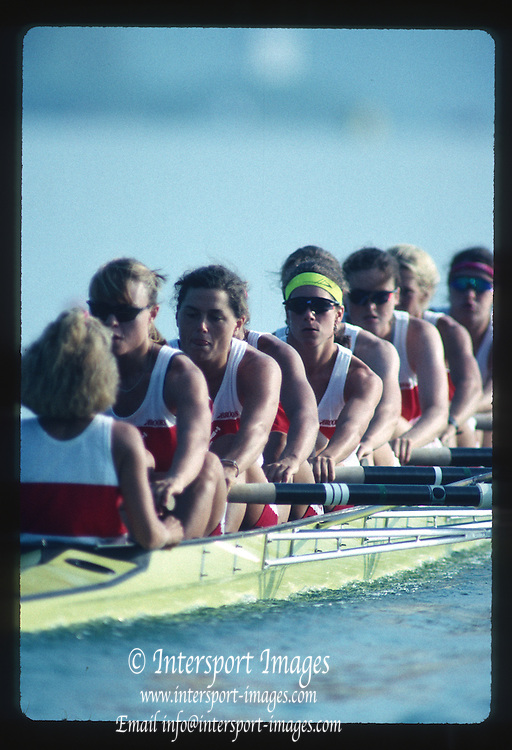 Banyoles, SPAIN, Canadian Women's Eight. Gold Medalist; 	Kirsten BARNES , Shannon CRAWFORD , Megan DELEHANTY , Kathleen HEDDLE , Marnie McBEAN , Jessica Jessie MONROE , Brenda TAYLOR , Kay WORTHINGTON , Lesley THOMPSON - WILLIE (c) awards dock and  competing in the 1992 Olympic Regatta, Lake Banyoles, Barcelona, SPAIN.   [Mandatory Credit: Peter Spurrier: Intersport Images]