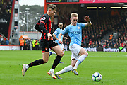 David Brooks (20) of AFC Bournemouth battles for possession with Oleksandr Zinchenko (35) of Manchester City during the Premier League match between Bournemouth and Manchester City at the Vitality Stadium, Bournemouth, England on 2 March 2019.