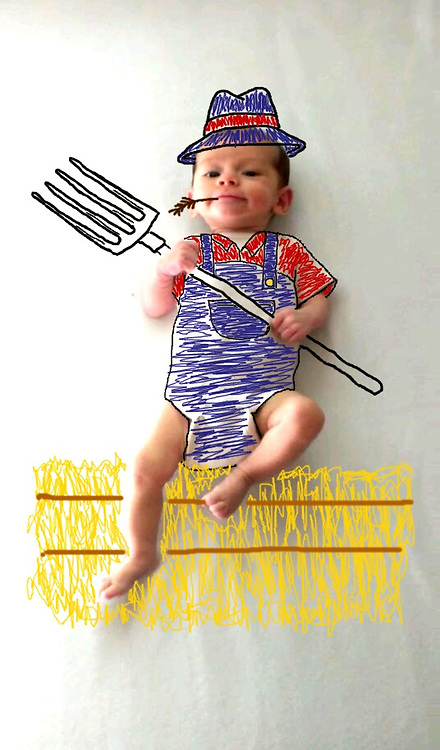 Baby boom!  pictures showing her baby son as anything from a soldier to Popeye<br /> <br /> When U.S.-based artist Amber Wheeler gave birth to her son she decided to incorporate him into her works - with hilarious results!<br /> Miss Wheeler's pictures have become an online hit after she used a white background and computer painting tools to create the heartwarming images of her son in a variety of different styles and personas.<br /> In one photograph the baby is a chef cooking in the kitchen, and in another he has a gun strapped to his chest, ready to go into battle.<br /> &copy;Amber Wheeler /Exclusivepix Media