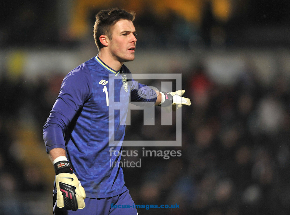 Picture by Daniel Hambury/Focus Images Ltd +44 7813 022858.21/03/2013.Jack Butland of England Under-21  during the International Friendly match at Adams Park, High Wycombe.